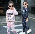Adolescentes Das Meninas Conjunto de Roupas de Outono Novo 2016 Crianças de varejo Meninas roupas Terno Dos Esportes Manga Longa Top & Pants 2 pcs HB1159