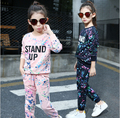 Retail Teenage Girls' Clothing Set Autumn New 2016 Kids Girls Clothes Sports Suit Long Sleeve Top & Pants 2 pcs HB1159