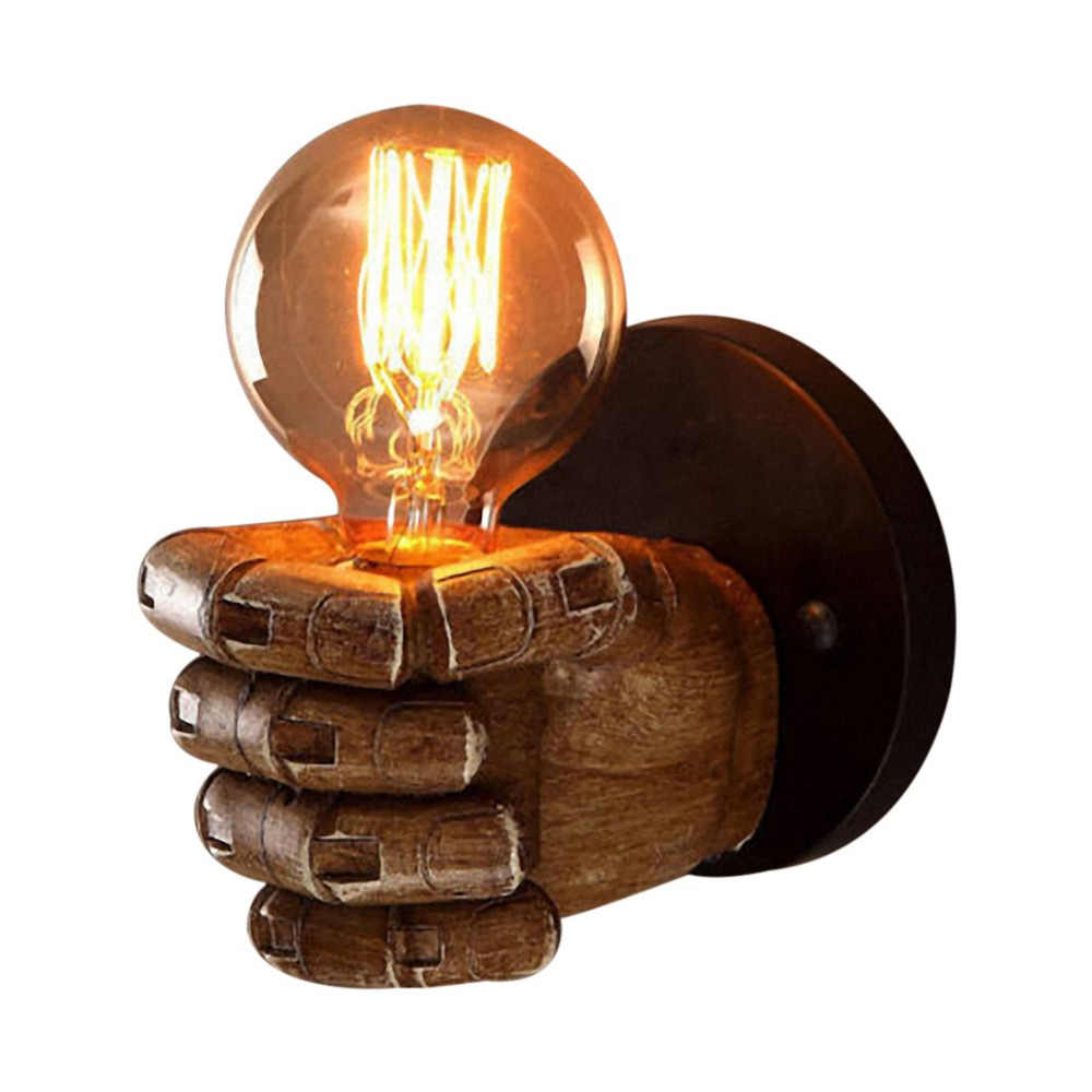 Retro Right Hand Fist Resin Wall Lamp Loft Industrial Wind Decoration Antique Wall Lamp E27 Screw Interface Retro Style Lights