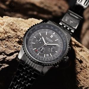 Image 2 - Megir relógio de pulso masculino, relógio novo de quartzo com pulseira luminosa e analógico, cronógrafo para homens, hora de calendário, imperdível