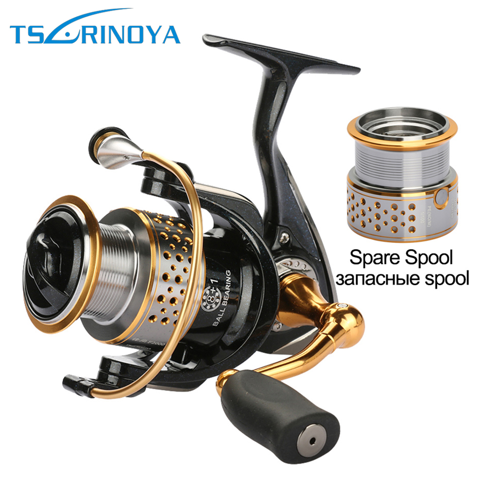 Tsurinoya Fishing Reels Metal Spinning Reel With One Spare Spool Kiri Dan Tangan Kanan 9bb Carp Sea Reel