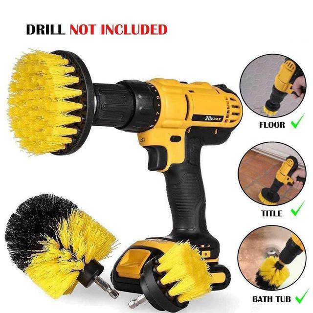 3 pcs Power Scrubber Brush Set for Bathroom | Drill Scrubber Brush for Cleaning Cordless Drill Attachment Kit Power Scrub Brush 2