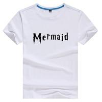 Mermaid Hoge Kwaliteit Katoen Tee Wit Korte Mouw Tshirt Vrouwen Tee Harajuku T-shirts 2017 Streetwear