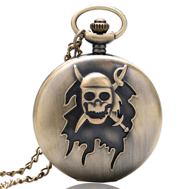 Antique Pirate Skull Design 3D Bronze Quartz Pocket Watch With Necklace Chain Free Shipping