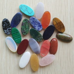 Image 3 - סיטונאי 20 יח\חבילה אופנה מגוון טבעי אבן סגלגל צורת cab cabochons לתכשיטים ואביזרים שהופך 15x30mm משלוח