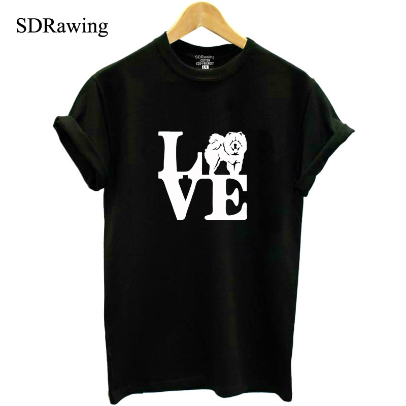 Funny I Love Chow Chow Print Cotton T Shirts For Women Dog Lover Girlfriend Graphic Tees Summer Casual Female Tops Drop Ship