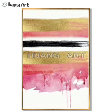 Modern Pink Gold Black White Abstract Oil Painting Hand-painted High Quality on Canvas for Room Decor Art