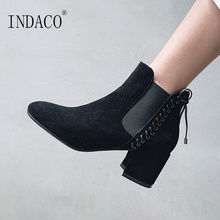 Ankle Boots for Women Leather Womens Winter 6cm