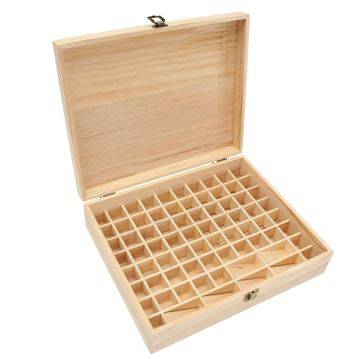 Wooden Essential Oils Storage Box 74 Holes Aromatherapy Natural Pine Wood Jewelry Organizer Storage Case Decorative