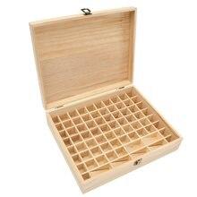 Holz Ätherische Öle Aufbewahrungsbox 74 Löcher Aromatherapie Natürliche Kiefernholz Schmuck Organizer Aufbewahrungskoffer Dekorative Boxen