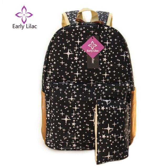 Eaely Lilac Women Backpack For Teenage Girls School Bags Rucksack Back Pack Canvas Cute Stars Printing Backpack Set For Children