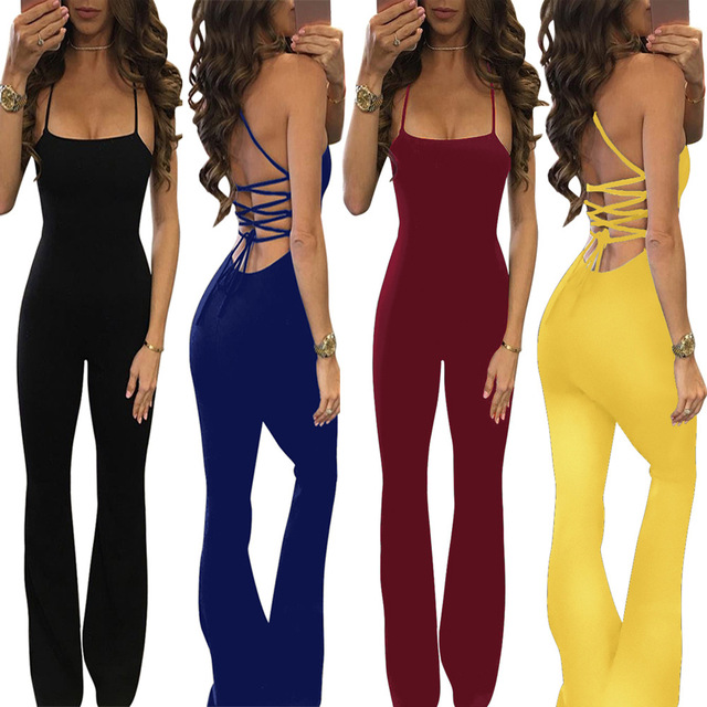 0a4d5da8b0e7 2017 Sexy Summer Overalls Sleeveless Patchwork Rompers Womens Jumpsuits  Trendy Lace-up Open Back Flared Jumpsuit
