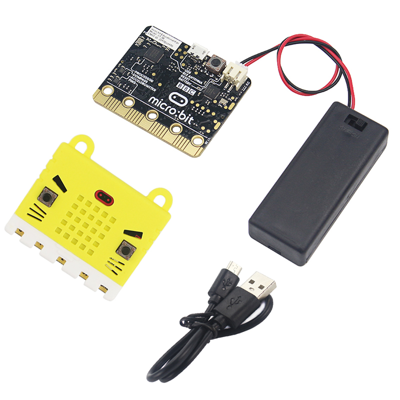 BBC Micro:bit Board + Silica Gel Case Box + ON/OFF #7 Battery Holder Box + Micro USB Data Transfer & Power Cable For Kids