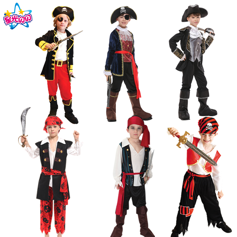 Gratis frakt Kostyme for gutter Kids Pirate Costumes Fantasia Infantil Pirates of the Caribbean Dress Cosplay Clothing