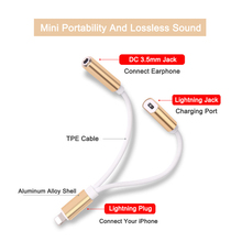 2 in 1 Audio Charger Cable Lightning To 3.5mm Earphone Headphone Jack Adapter Splitter For iPhone 5/6/7 Plus Aux Cable ios 10.3