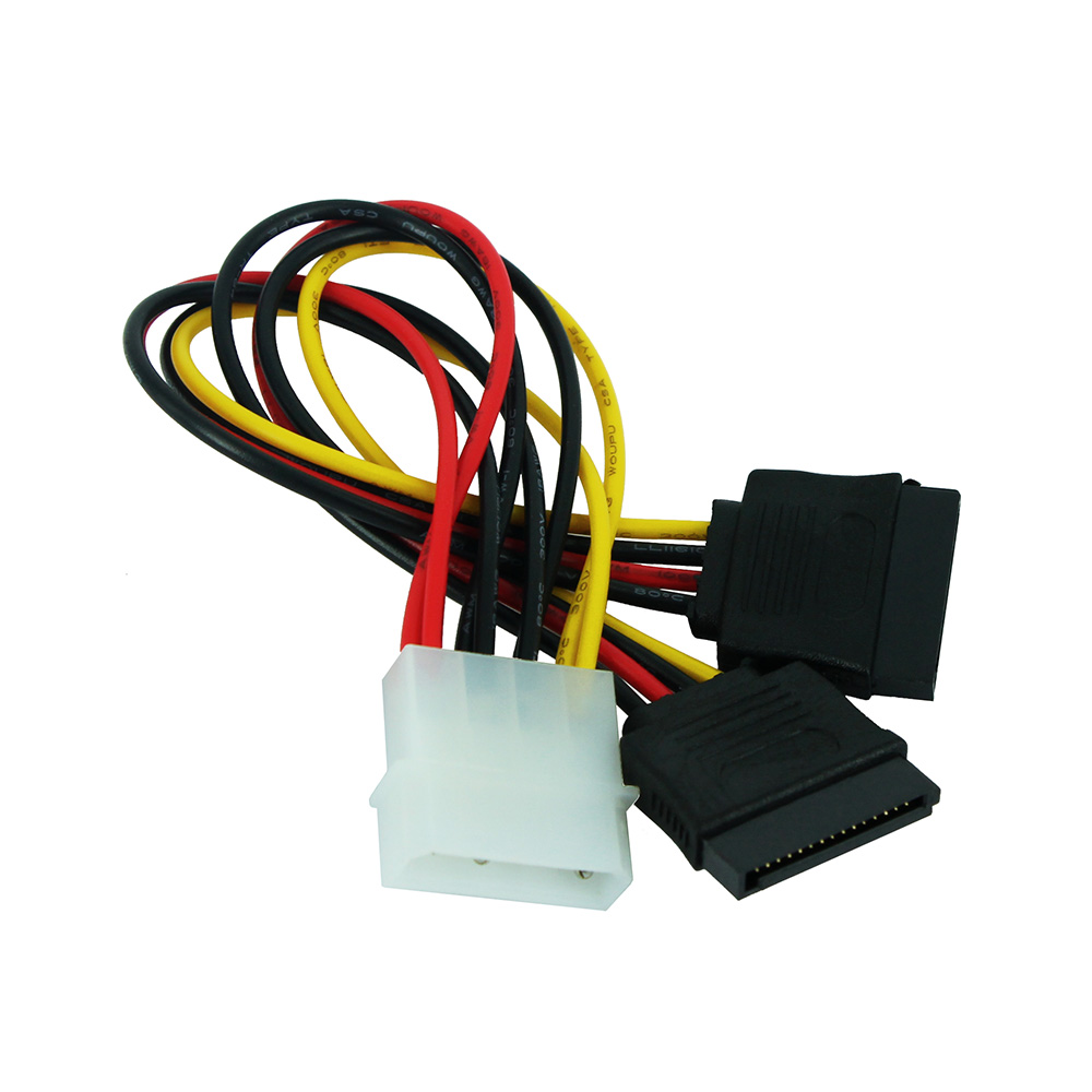 JONSNOW 4 Pin Molex Male Power To Dual ATA SATA 2 Female Y Splitter Cable Hard Drive Power Supply Computer Cable