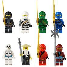 8PCS Ninja Figurine Dolls Wooden Block Assembled Blocks For Children Assembled Building Blocks Toys Action Figure стоимость