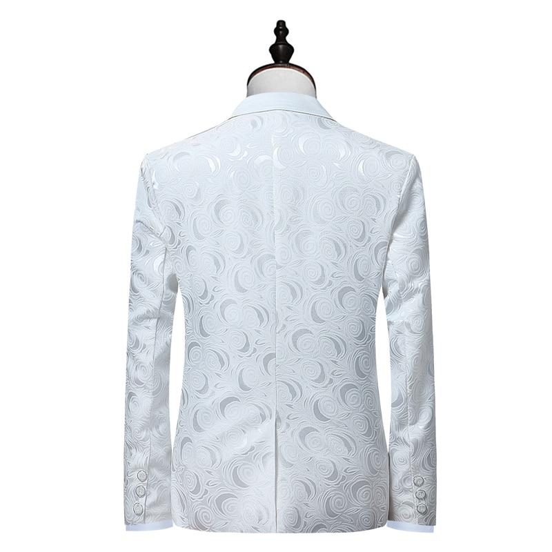 db8b1113ce661 Hombres blanco rosa Jacquard 2 unidades traje (chaqueta + pantalones) boda  novio traje esmoquin hombres solapa trajes de negocios Blazer en Trajes de  La ...