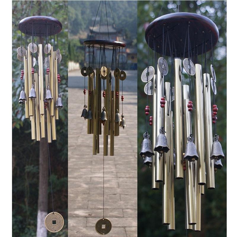 Antik İnanılmaz Grace 4 Tüpler 5 Bells Bakır Paraları Windchime - Ev Dekoru