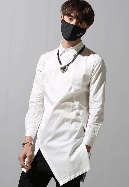 2018 homme faux deux pièces chemise à manches longues automne mâle vintage col montant après placting chemise mi-longue