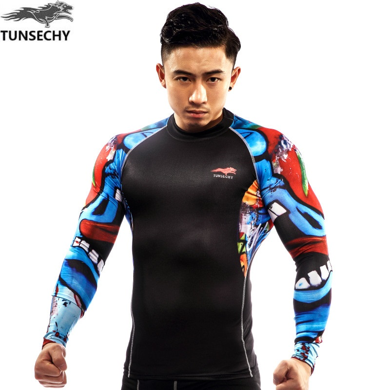 TUNSECHY original Hot Compression Shirt Long sleeve Fitness t shirt Plus Size Men Fitness Clothing Quick Dry Fitness Clothing