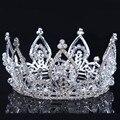 2016 новый Люкс Принцесса Австрийская Потрясающие Кристалл Волос Тиара Свадьба Корона Veil Повязка свадебные диадемы для невест