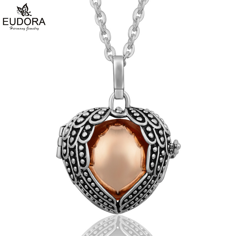 Eudora Harmony Ball Vintage Copper Metal Angel Wing Floating Locket Cage Pendant Jewelry fit for 20mm Chime Sound Mexican Bola