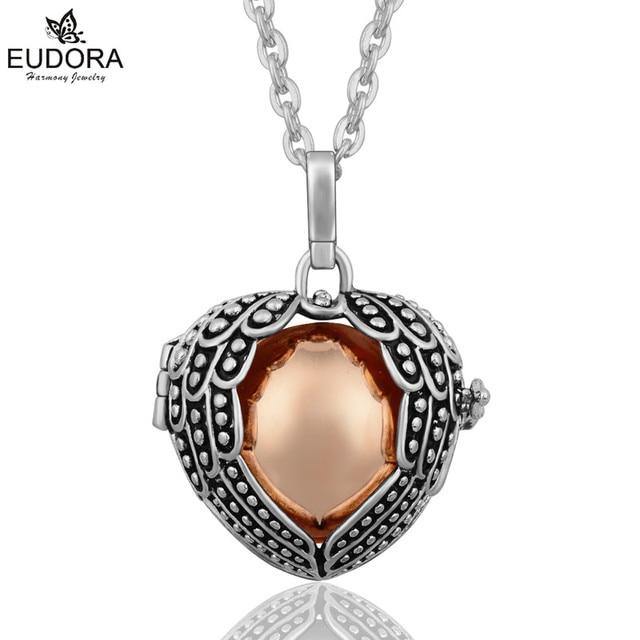 Eudora Harmony Ball Necklace Pendant Lockets Sterling Silver Angel Wing 1pBfIueLtZ