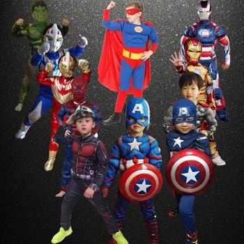 children Avengers Captain America Hulk Thor Deadpool superman cosplay muscle costume kids Star War Carnival halloween clothes children halloween avengers hulk incredibles spiderman deadpool muscle costume and mask superheroes carnival cosplay fancy dress