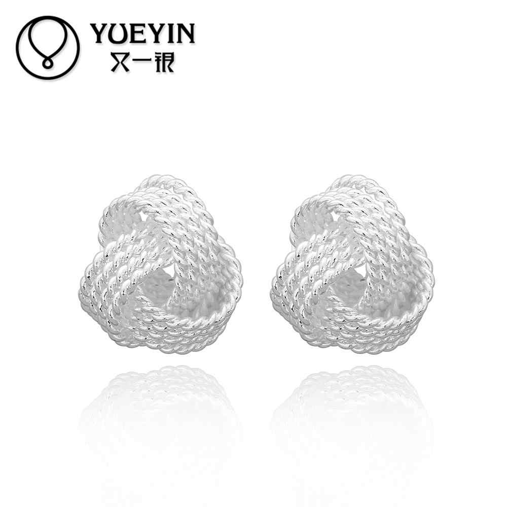 Wholesale Retail women silver plated stud earrings wedding party jewelry auskarai Elegance oorbellen