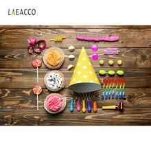 Laeacco Wooden Board Birthday Hat Balloon Party Portrait Photography Background Photographic Backdrop For Photo Studio