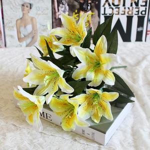 Image 2 - 1 cái 10 Người Đứng Đầu Nhiều Màu Nhân Tạo Lily Flower Bouquet Hoa Giả Bridal Hoa Wedding Trang Trí Vòng Hoa P20
