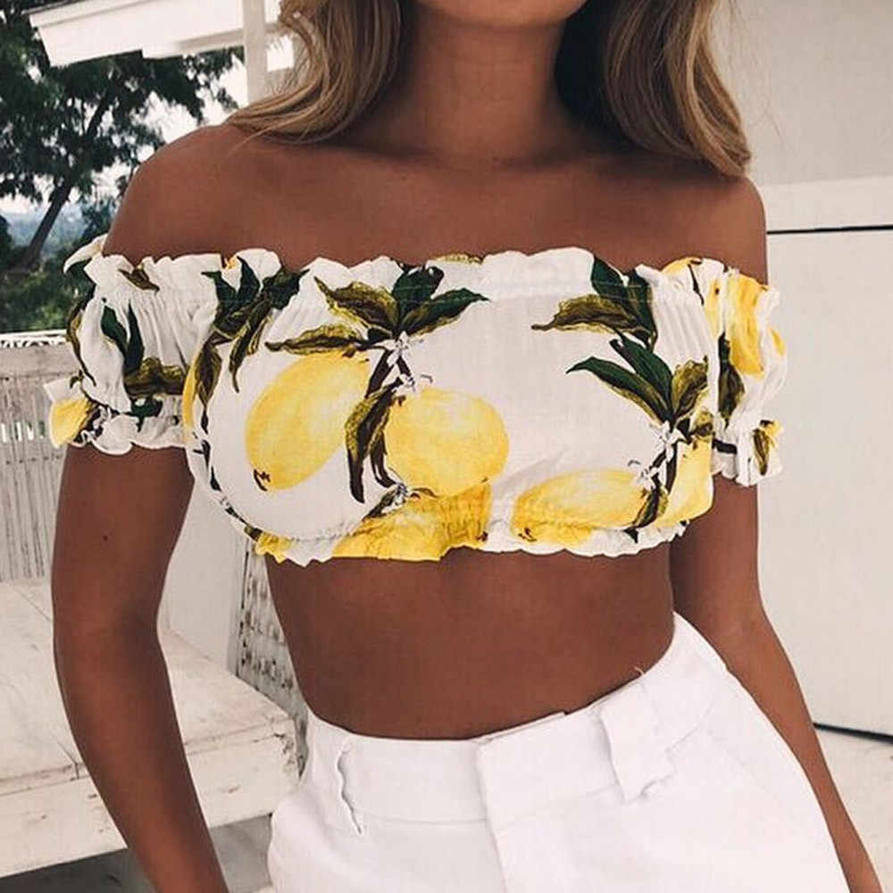 SAGACE Flying Sleeve T Shirt Clothes Women Off Shoulder Coat Lemon T-shirt Flare Sleeve Summer  Short Sleeve Elegant Slim
