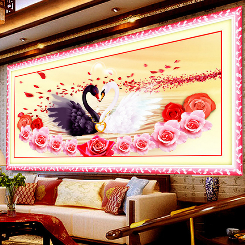 5D DIY Diamond Painting Cross Stitch diamond Embroidery swan flowers Picture Diamond Mosaic Valentine's Day wedding decoratio