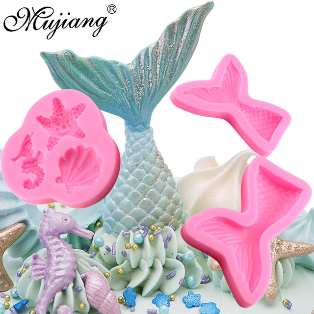 3pcs Sea Design Silicone Shell Seahorse Chocolate Candy Molds