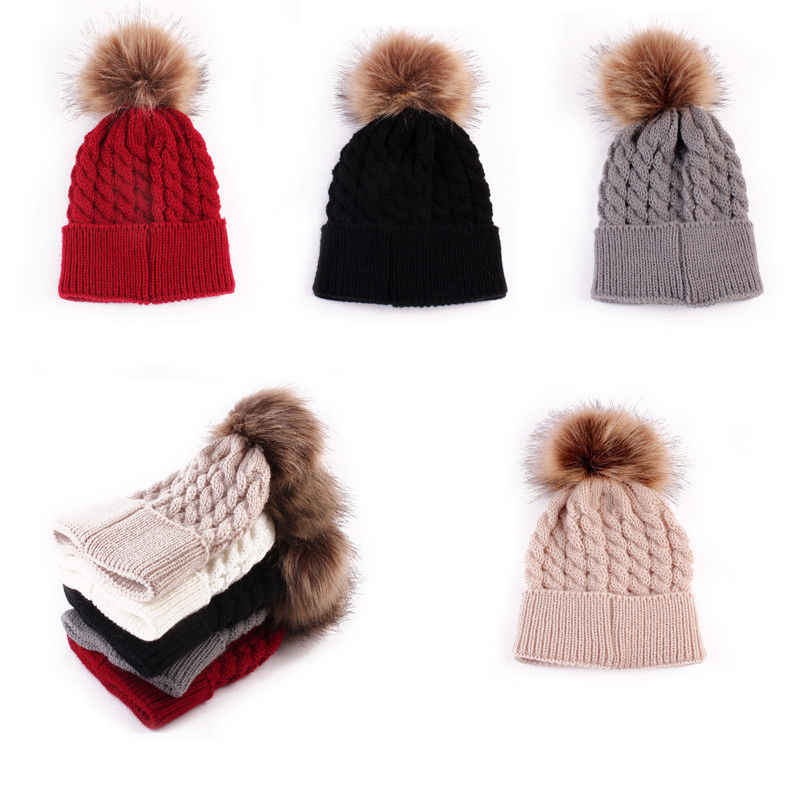 86b20d8585b58 Brand New 2018 Adjustable Hot Unsex Girls Boys Winter Warmer Wool Fur Kids  Cap Pompom Ball