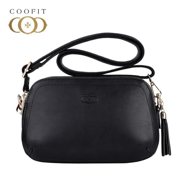 ae79f8502a74 Coofit Designer Brand Mini Bag Womens Simple Black Crossbody Bags Quality  Leather Tassel Satchel Bags Shoulder Clutch For Girls