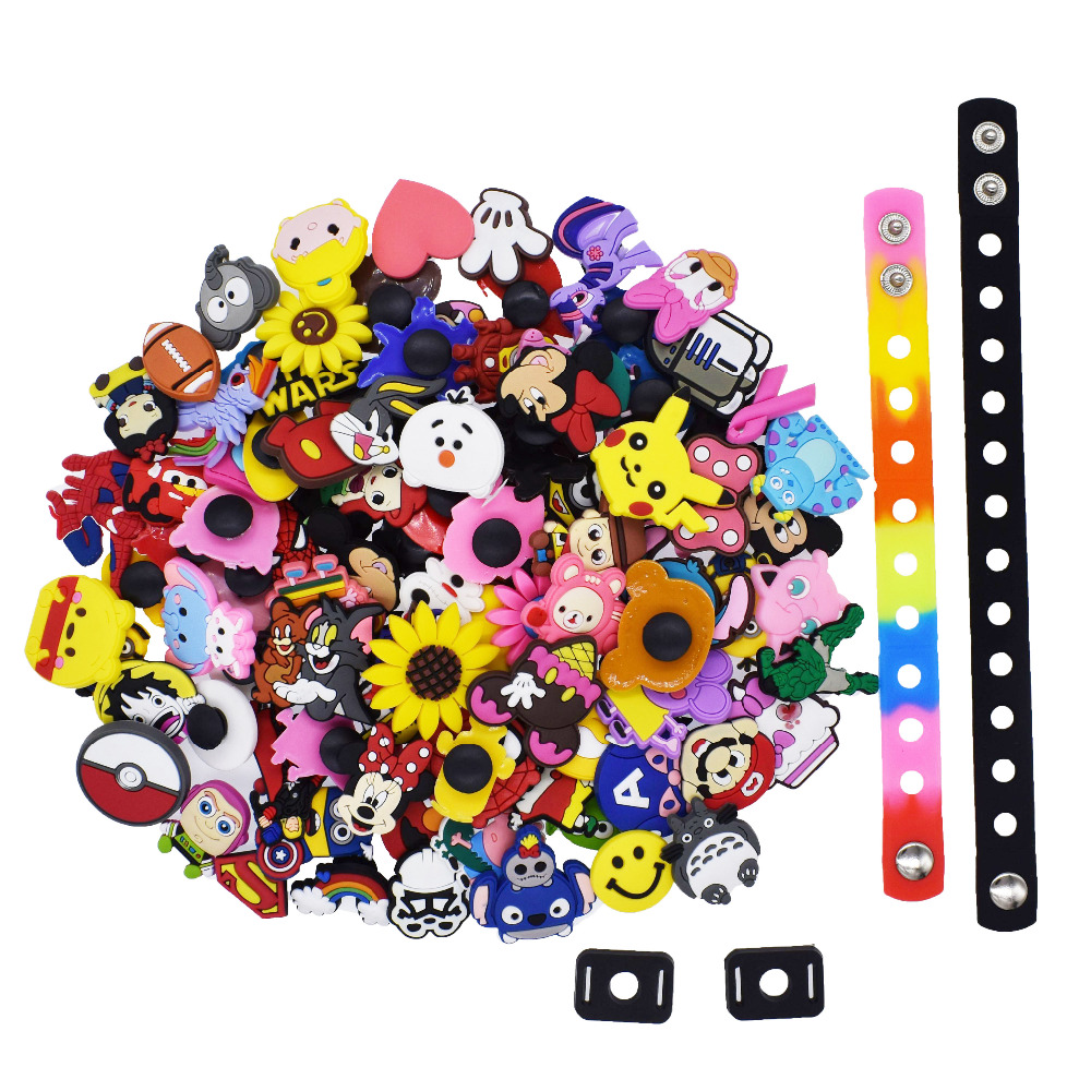 100Pcs Different Random Croc Shoes Charms Decorations+2Pcs Shoe Lace Adapter +2Pcs Wristband Bracelet Party Kids Gifts