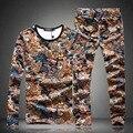 2016 Outono boutique de moda longo-manga sweatershirt terno Personalizado impressão animais conjunto sweatershirt e corredores dos homens M-5XL