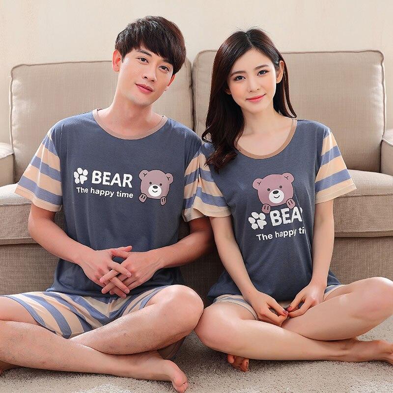 2018 Summer Couples Cotton Pajamas Sets for Women Cute Cartoon Shorts Pyjamas Casual Men Sleepwear Lounge Homewear Home Clothing
