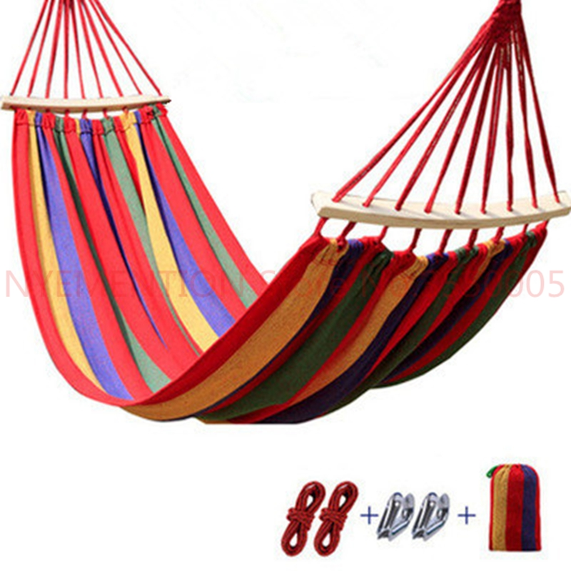 Two person Hammocks with stick Outdoor Furniture canvas hammock swing 300*150cm hanging chair hamac hangmat swing chair  1pcsTwo person Hammocks with stick Outdoor Furniture canvas hammock swing 300*150cm hanging chair hamac hangmat swing chair  1pcs