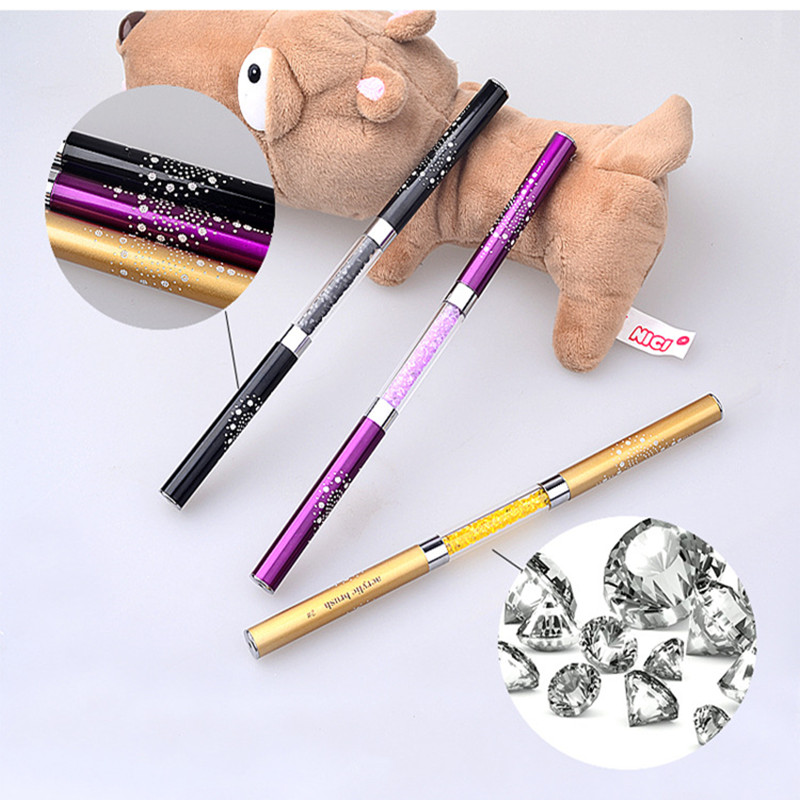 2 in 1 UV Gel Crystal Nail Brush Pen Rhinestone Acrylic Handle Carving Nails Painting Gel Brush Nail Art Manicure Tools in Nail Brushes from Beauty Health