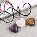 Imixlot diseño único corazón de piedra natural colgante collar de cadena de cuero para hombres de las mujeres de moda joyas de cristal de cuarzo