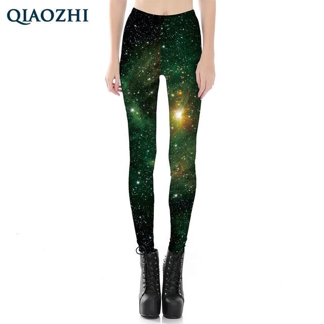 3e934cce9055b QIAOZHI Summer Women Green Leggings Printed Sexy Galaxy Pants Elasticity Fitness  Legging Space Calzas Mujer Leggin Plus size 4XL