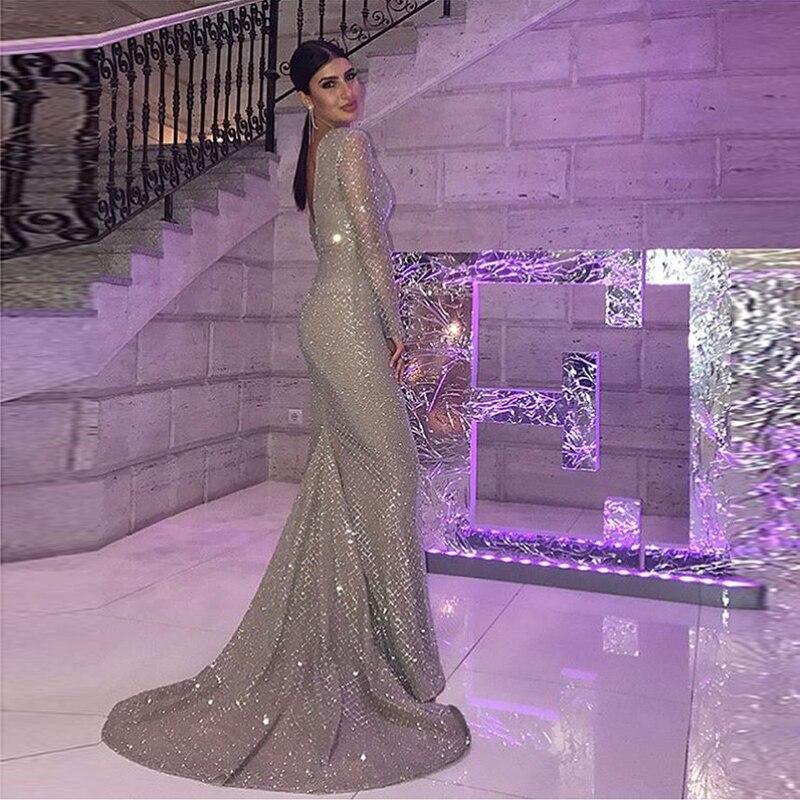 Sexy argent Plaid paillettes étage longueur robe sirène manches longues dos nu évider robe de soirée doublure complète robe extensible