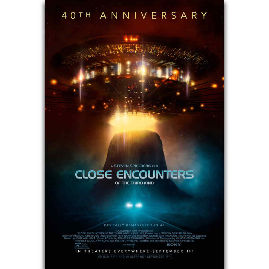 9e8ec9c6085e26 S899 Close Encounters of the Third Kind Spielberg Classic Movie Wall Art  Painting Print On Silk