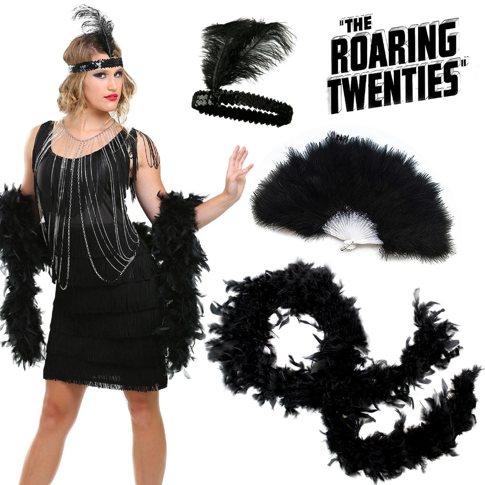 Women's Roaring 20s Flapper Girl Costume Accessories Deluxe 3 Pack Set 1920s Charleston Jazz Gatsby Fancy Dress Feather Outfits
