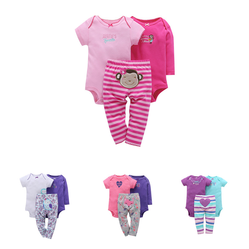 Lion Bear 3pcs/set Baby Girl Clothes Summer Clothes Cartoon Cute Outfits Kids Dresses For Gilrs Bodysuit Girls Dress