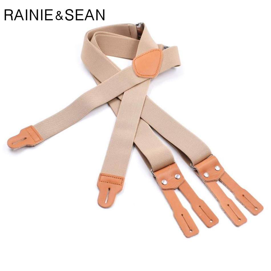 RAINIE SEAN Mens Button Suspenders For Shirt Braces Men Women Beige Real Leather Male Female Suspenders Straps 125cm*3.5cm