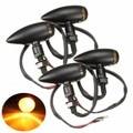 4 UNIDS Bala Motocicleta Turn Signal Indicator Lamp Light Para Harley Chopper/Cruiser Cromo Negro